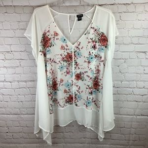 Torrid White Floral Print Sheer Blouse Plus Size 4